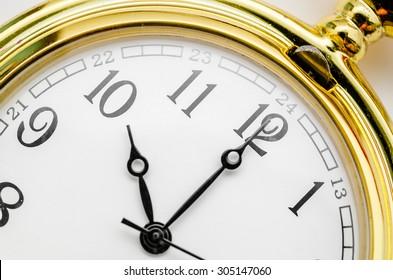 Close up gold pocket watch at ten oclock.