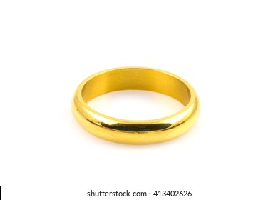 Close up of gold rings for wedding isolated on white background