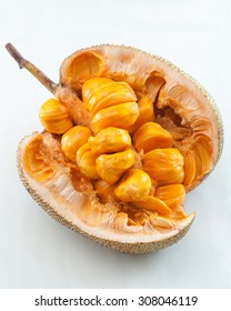 Close up of golden artocarpus integer (sweet jackfruit).