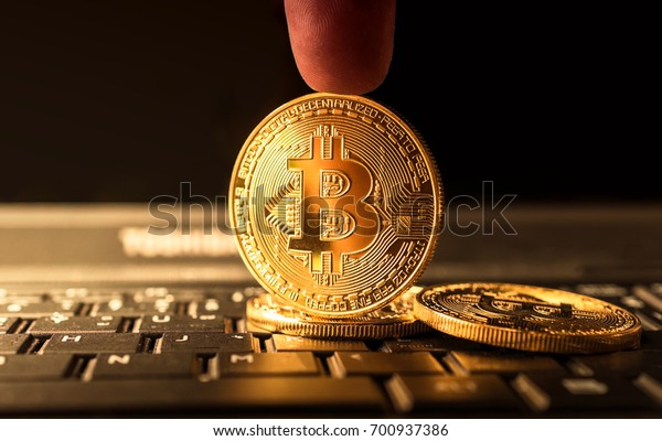 close up golden bitcoin coin crypto Currency background concept.