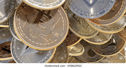 Close up of golden coins with Bitcoin symbol zoom in background.