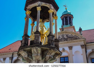 Close up golden Equestrian statue of Magdeburger King Magdeburg, Germany