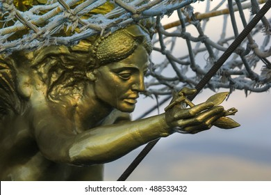 Close up of Golden figurehead on Sailing Ship
