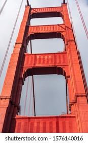 Close up of Golden Gate Bridge pylon; Golden Gate Bridge is a suspension bridge spanning the Golden Gate, the one-mile-wide strait connecting San Francisco bay to the Pacific Ocean