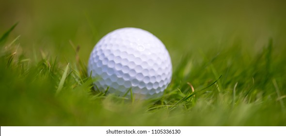 Close golf ball in grass