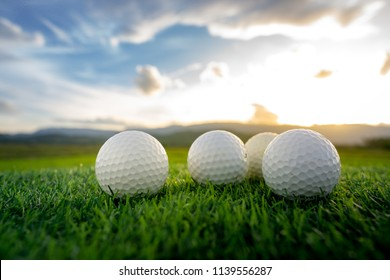 close up the golf ball on the green background with sunset