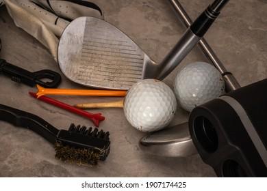 Close up of golf equipment.