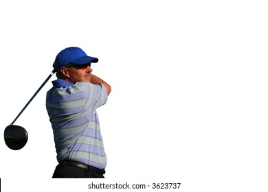 Close up of a golfer wearing a blue shirt and blue hat after teeing off on isolated white background with copy space