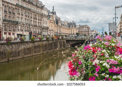 Close up of gorgeous flower decorations along the embankment of River Vilaine in Rennes, Brittany, France