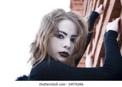 Close Up Gothic Girl Portrait