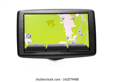 Close up of a GPS navigator with the road map on the screen