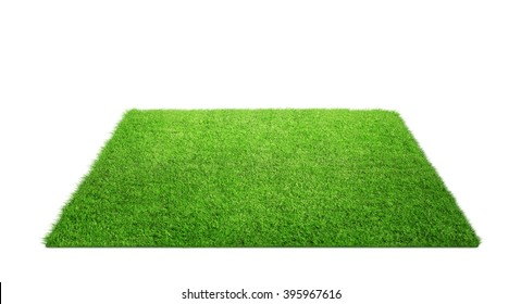 Close up of grass carpet isolated on white background with copy space - Shutterstock ID 395967616