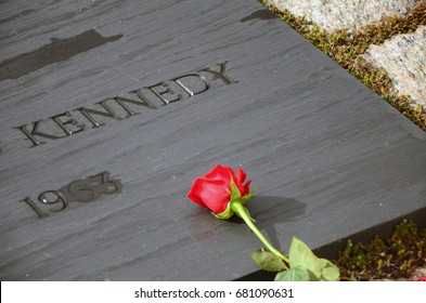 Close up of gravesite of John F. Kennedy at Arlington National Cemetery, on the 50th anniversary of his assassination, November 22, 2013.