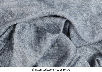 close up gray crumpled linen background