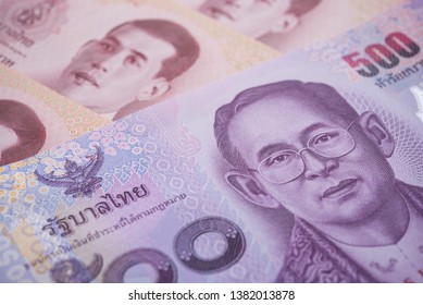 Close up great King Bhumibol Adulyadej (Rama 9) on 500 baht Thai banknotes bill texture background. Concept of Thai baht payment currency of Thailand, Forex investment, stock market or asia economic