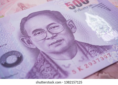 Close up great King Bhumibol Adulyadej (Rama 9) on 500 baht Thai banknotes bill texture background. Concept of Thai baht payment currency of Thailand, Forex investment, stock market or Asia economic.