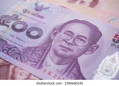 Close up great King Bhumibol Adulyadej (Rama 9) on 500 baht Thai banknotes bill texture background. Concept of Thai baht payment currency of Thailand, Forex investment, stock market, Asia economy.