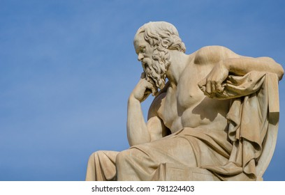 Close up of a greatest of philosophers Socrates reflects on the meaning of life.