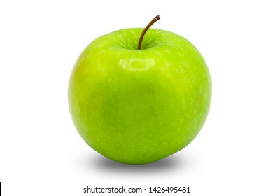 Close up green apple on isolate white background.