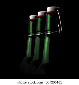 Close up green bottles of beer on a black background