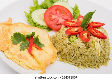 close up green curry fried rice on dish,Fried rice with green curry, Thai Food