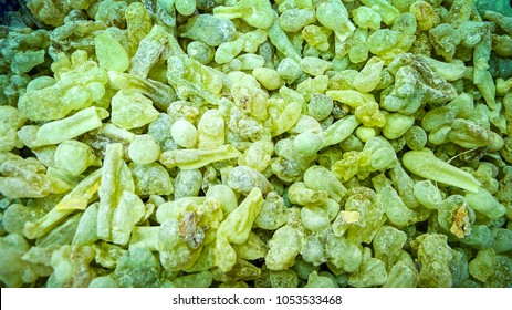 Close up of green frankincense resin for sale in Salalah, in the Dhofar region of southern Oman