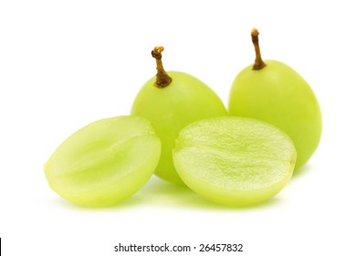 Close up of green grapes isolated over white background.