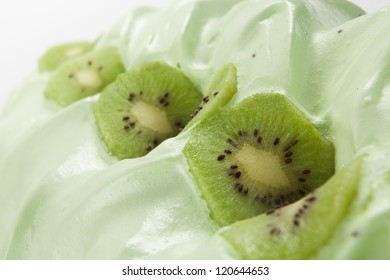 Close up Green ice cream with chocolate