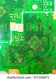 Close up green PCB board.