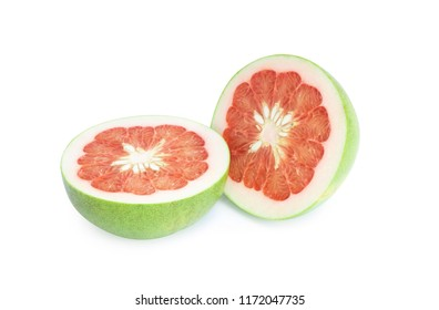 Close up green pomelo isolated on white background,clipping path