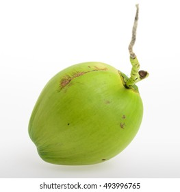 close up green Thai young coconut fruit on white background, Cocos nucifera L.