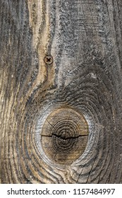 Close up of grey wooden planks with scratches, crackes and natural wooden pattern ring. Abstract texture background