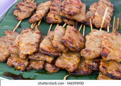 close up of grill roast stick pork at local food market