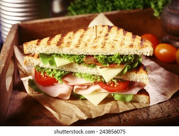 Close Up of Grilled Clubhouse Sandwich with Fresh Toppings