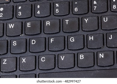 Close up of grimy black dirty dusty grungy neglected  laptop keyboard