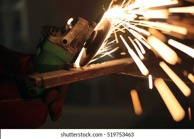 Close up grinding sparks