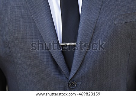 66645a63dc39 Close Grooms Tie Clip Stock Photo (Edit Now) 469823159 - Shutterstock