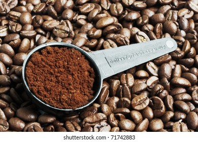 Close up of ground coffee in measurement spoon