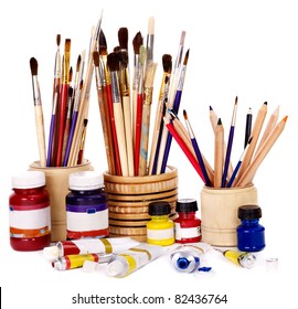 Close up of group art  supplies.
