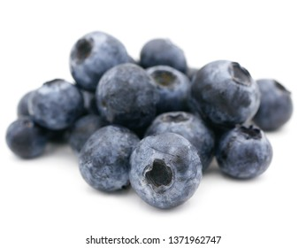 Close up group blueberry on a white background.