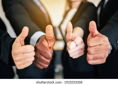 Close up of a group of diverse businesspeople showing raised thumbs at the camera. Recommendation of good choice. The diversity of African and Caucasian businesspeople gives a positive response.