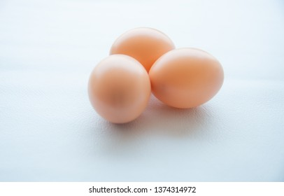 Close up Group of eggs on white tone.