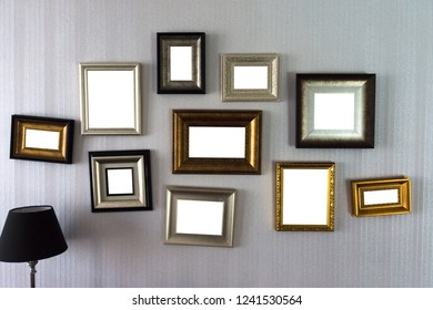 Close up group of frames isolated on white background with clipping path.