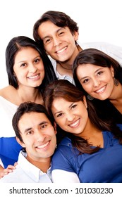 Close group of friends - isolated over a white background