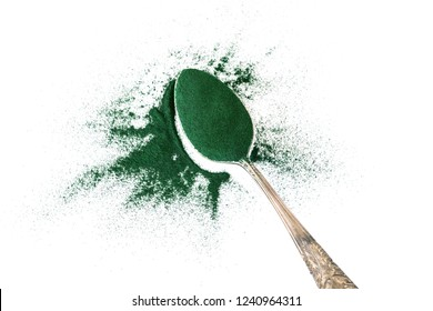 Close up group of spirulina powder ,  superfood and detox healthy nutrition