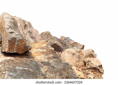 close up a group of stones big rock lay isolated on white background,clipping paths