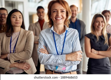 close up of group of successful business people, looking at camera. eye contact