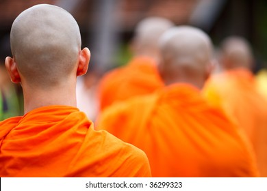 Close up of a group of young Buddhist monks