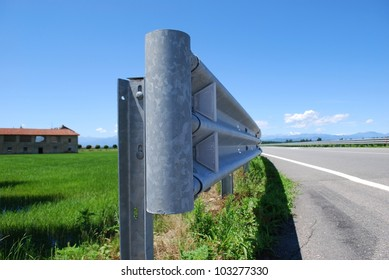 Close up of guard rail on a road in countryside