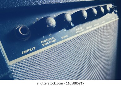 Close up of guitar amplifier with copy space, selective focus. Music concept